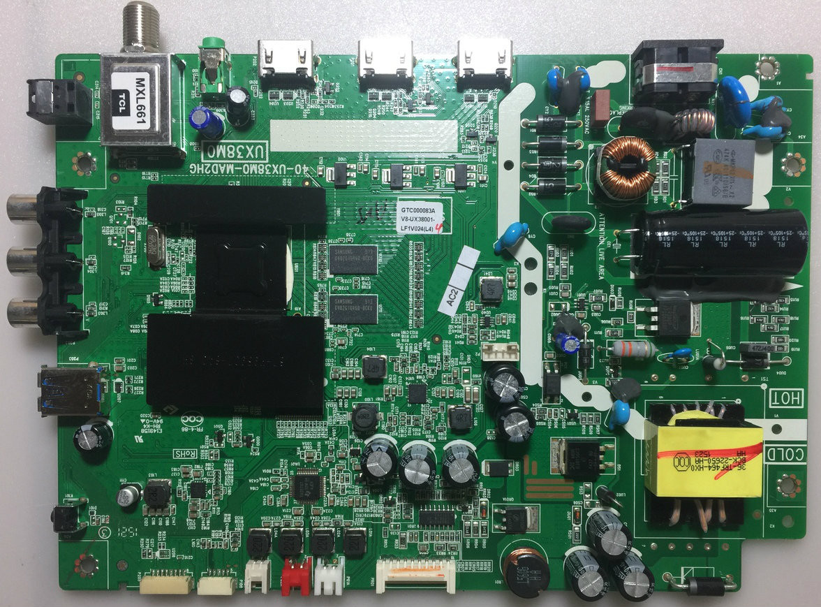 TCL V8-UX38001-LF1V024 Main Board / Power Supply for 32S3750 (Version  32S3750TLAA)