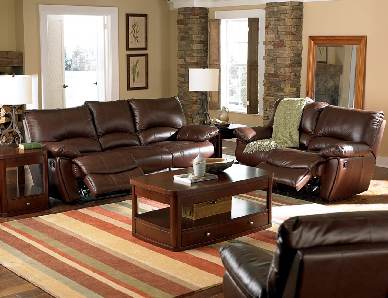 C600281 - Mansi Dark Brown Leather Match Motion Reclining Sofa & Love Seat