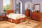 FA7903OAK - Cara II Oak Solid Wood Panel Trundle Bed