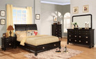 fa7652L - Abby Black Solid Wood and Leatherette Platform Bed with Storage Drawers