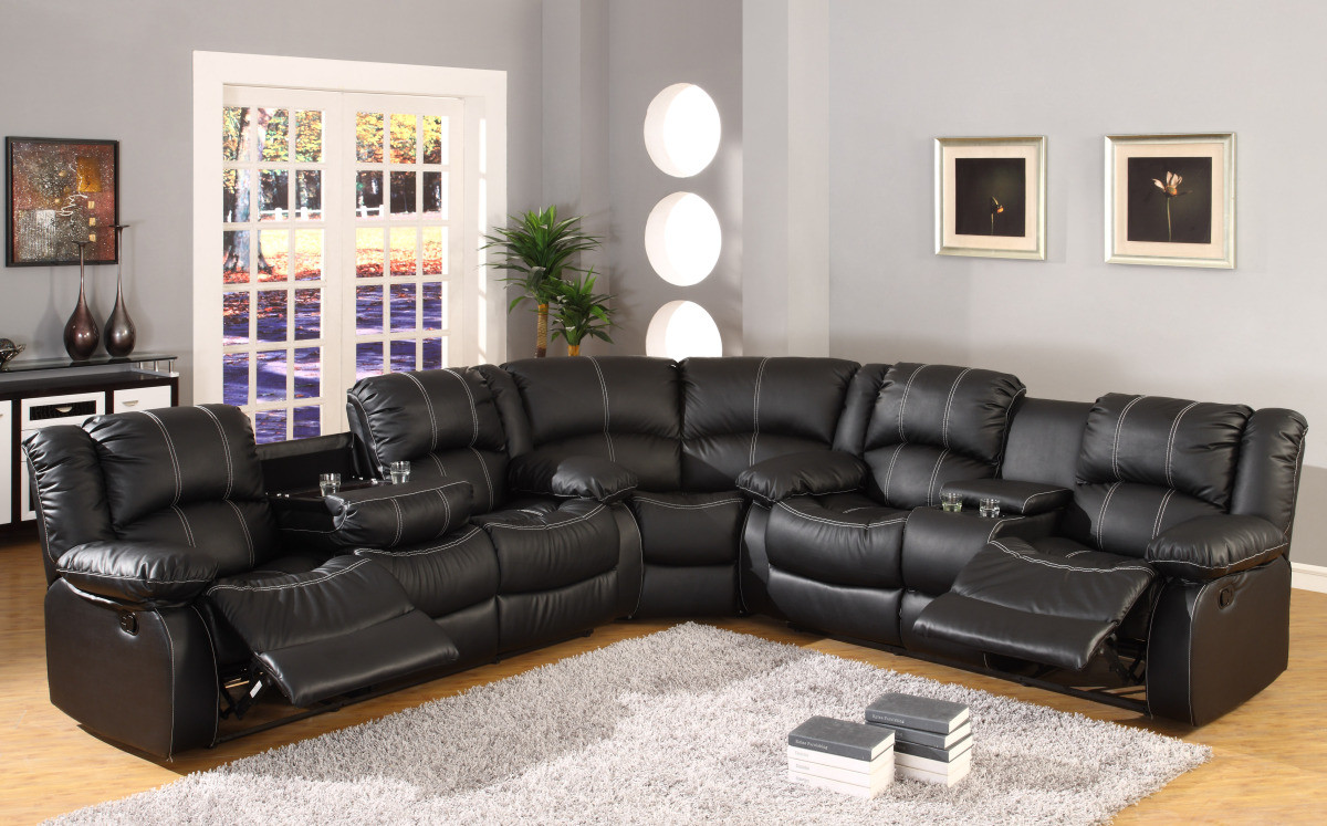 Mfsf3591 Ayden Black Bonded Leather 3 Piece Reclining Sectional W