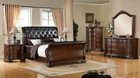 fa7267 - Percy Brown Cherry Formal Solid Wood Sleigh Bed
