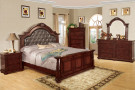 fa7711 - Tanvi Brown Cherry Solid Wood Formal Sleigh Bed