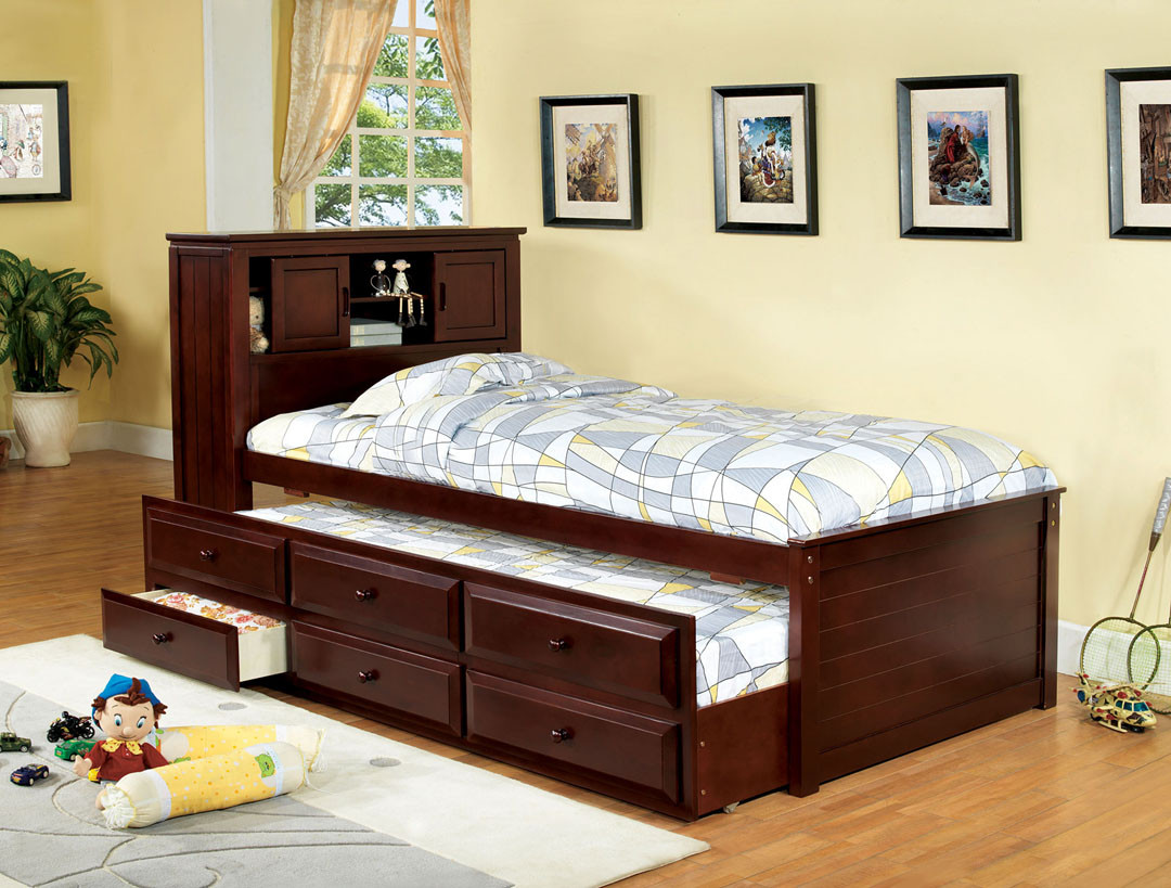 Fa7763ch Clotilda Cherry Solid Wood Twin Captain Bed With Trundle