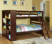 fabk147 - Femi Espresso Solid Wood Twin/Twin Bookcase Bunk Bed