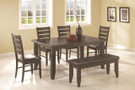 c102721 - Scott Cappuccino Solid Wood and Cloth Fabric 6 Piece Standard Height Dining Room Set with Bench