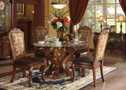 ac60010 - Delmar Cherry Oak Solid Wood and Tapestry Fabric Standard Height Five Piece Pedestal Dining Set