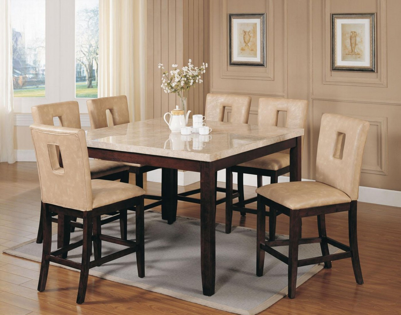 Ac17059   Britney Espresso U0026 Off White Solid Wood , Bycast Leather U0026 Marble 9  Piece Counter Height Dining Set