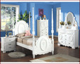 ac01660 - Flora White Solid Wood Post Bed