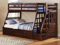 ac37015 - Jason Espresso Solid Wood Twin Over Full Bunk Bed Set with Storage Ladder and Trundle