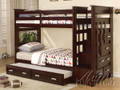 ac10170 - Georgetown Espresso Solid Wood Twin/Twin Bunk Bed w/Storage and Trundle