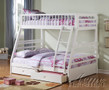 ac37040 - Lyric White Solid Wood Twin/Full Bunk Bed With Drawers