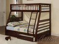 ac02020 - Jazz Espresso or Honey Oak Solid Wood Twin/Full Bunk Bed With Drawers