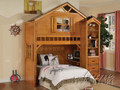 ac10160 - Tree House II Rustic Oak Solid Wood Twin Loft Bed with Book Shelf and Drawers