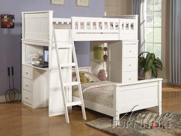 Ac10970 Berco White Or Black Solid Wood Twin Twin Loft Bed With Student Desk And Drawers Inland Empire Furniture
