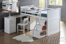 ac19405 - Wyatt White Solid Wood Twin Loft Bed with Student Desk and drawers