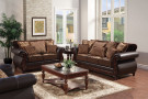 FA6106 - MADE IN THE USA FRANKLIN DARK BROWN SOFA W/ QUEEN SLEEPER & LOVESEAT