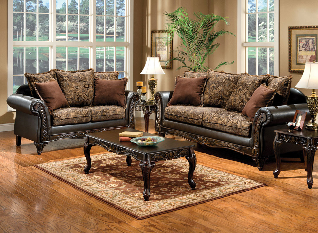 Superb Fa7630 Made In The Usa Caleb Dark Brown Floral Design Classic Luxurious Sofa And Loveseat With Wood Trim Lamtechconsult Wood Chair Design Ideas Lamtechconsultcom