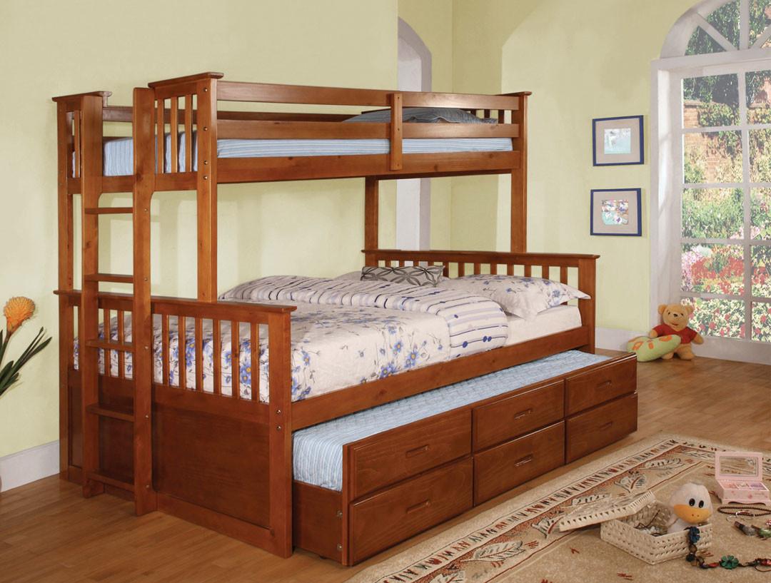 FABK458FOAK   University I Oak Twin/Full Bunk Bed With Twin