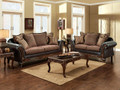 FA7635 - San Roque Gold/Brown Fabric and Espresso Leatherette Sofa and Loveseat