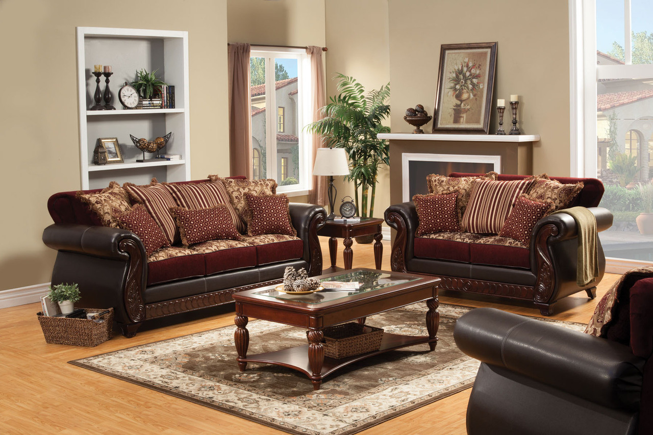 FA6107 - Franklin Burgundy Fabric and Leatherette Sofa and Loveseat