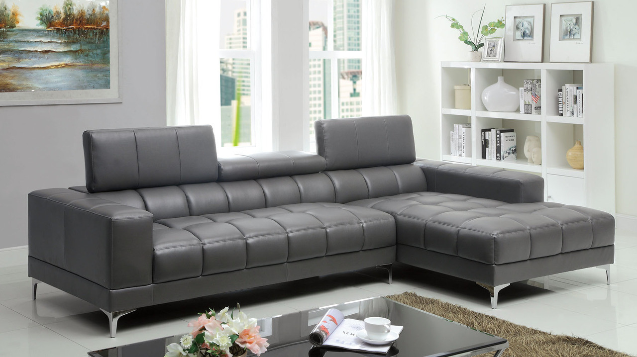 FA6669 - Bourdet II Gray Bonded Leather Match Sectional Sofa ...