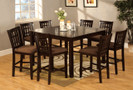 FA3246PT - Eleanor Espresso Finish Solid Wood/ Microfiber 9 Piece Solid Wood Dining Set