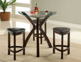 FA3335 - Pensi Espresso Finish Solid Wood/ Padded Leatherette 4 Piece Glass Top Bar Set