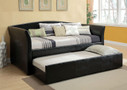 FA1956BK - Delmar Leatherette Platform Day Bed w/ Trundle