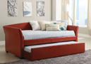 FA1956RD - Raina Red Leatherette Platform Day Bed w/ Trundle