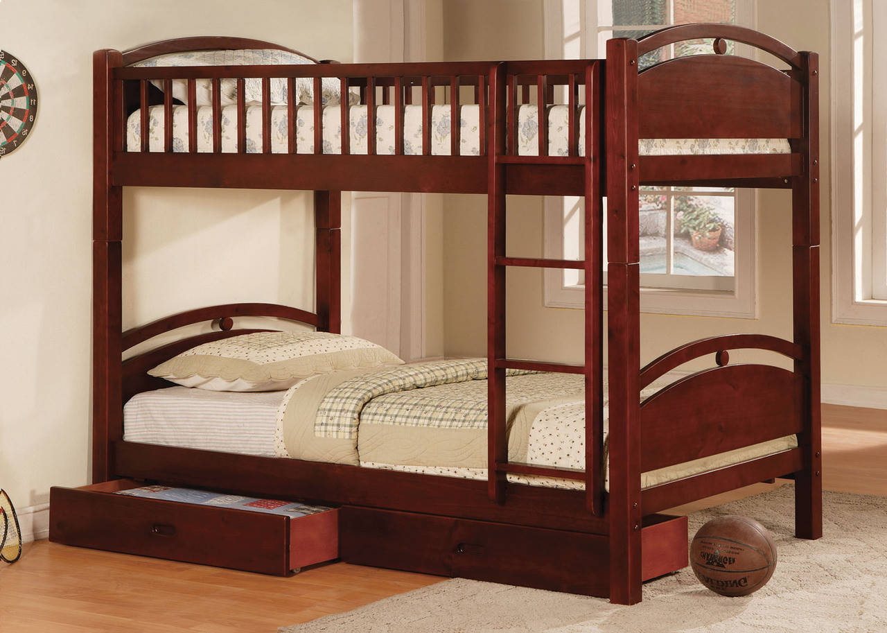 Fabk600ch California I Cherry Solid Wood Twin Twin Bunk Bed W Two