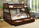 FABK605EX - Lekan Dark Walnut Solid Wood Twin/ Full Bunk Bed w/ Trundle