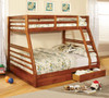 FABK588A - California III Oak Finish Solid Wood Twin/ Full Bunk Bed w/ 2 Drawers
