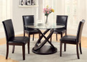 FA3774T - Ateena I Dark Walnut Solid Wood Glass Top 5 Piece Dining Set