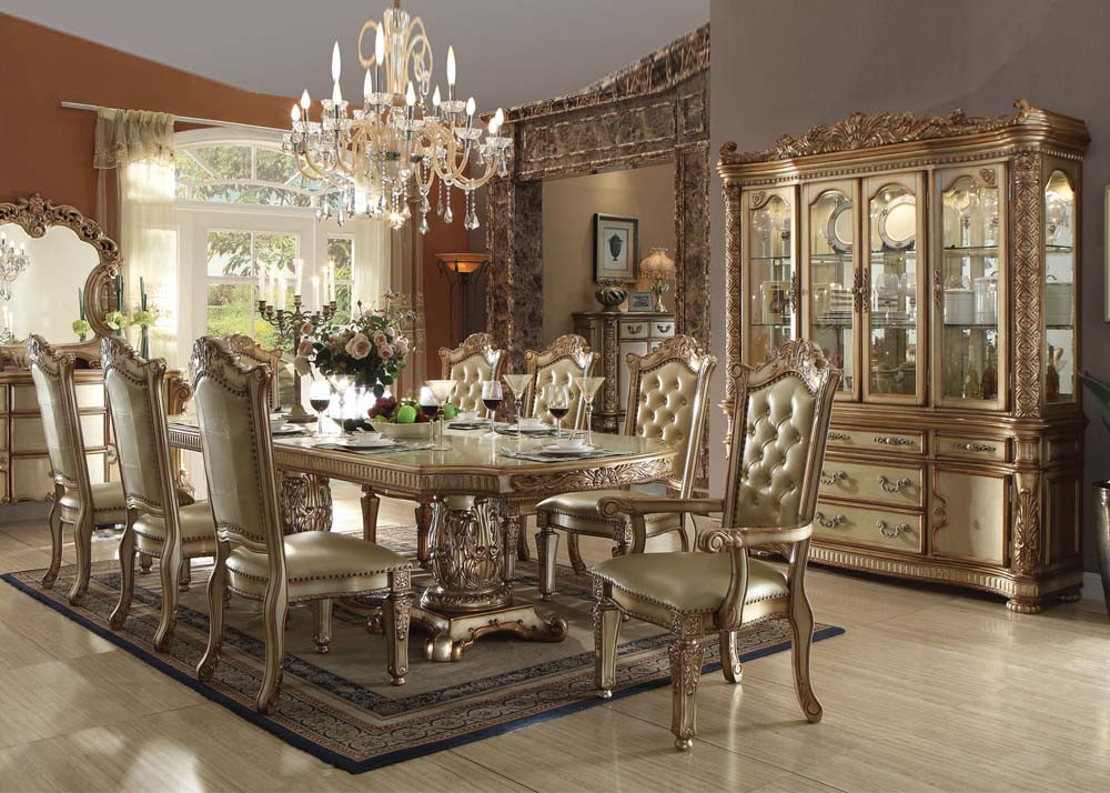 Vendome Gold 9 Piece Formal Dining Set Inland Empire
