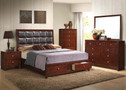 AC24590Q - Ilana Brown Solid Wood/Bonded Leather Adult Bed