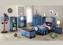 AC37560 - Toby Blue/Red & Black Train Kids Bed