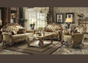 VENDOME GOLD BICAST LEATHER SOFA AND LOVE SEAT