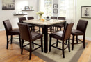 FA3823PT - ALFIA DARK WALNUT MARBLE TOP  9 PC COUNTER HEIGHT DINING SET