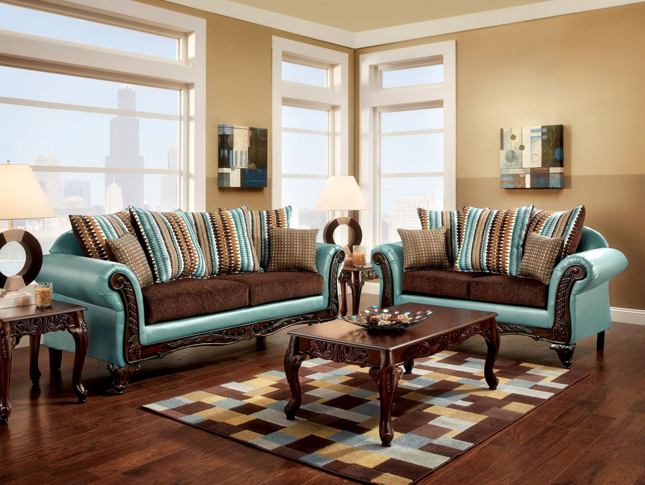 FA7610 - Mulligan Teal and Dark Brown Fabric/Bonded Leather Sofa and ...