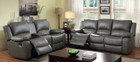 FA6326 - Chardae Gray Reclining Leather Sofa and Love Seat