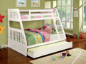 FABK607 - Canberra II White Solid Wood Twin/Full Bunk Bed