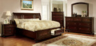FA7683 - Johari Dark Cherry Solid Wood Adult Bed W/ Storage Drawers And USB Outlets in Night Stands