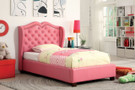 FA7016PK - Monroe Pink Leatherette, Solid Wood Kids Bed