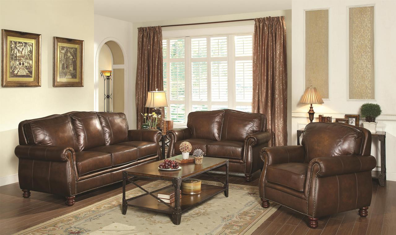 C503981 - Monte Top Grain Leather Traditional Sofa and Love Seat with  Rolled Arms and Nail head Trim