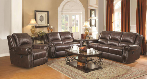 C650161   Rawlinson Traditional Top Grain Leather Match Power Reclining Sofa  And Love Seat With Nailhead Studs