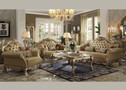 AC53160 - Dresden Gold Patina Finish & Bone PU Sofa and Love Seat