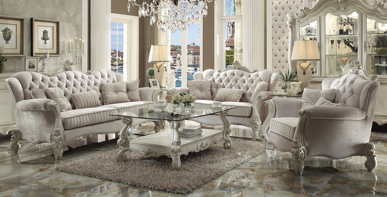 AC52105 - Versailles Ivory Velvet High Back Sofa and Love Seat Set