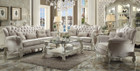 AC52105 - Versailles Ivory Plush Chenille High Back Sofa and Love Seat Set