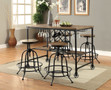 FA3803pt - Silvia I Medium Oak 5 pc. Counter Height Dining Set With Wine Rack
